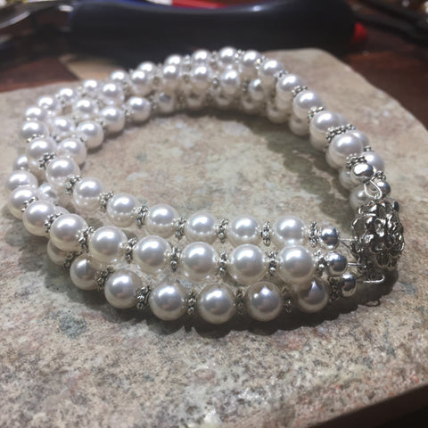 Three strand bracelet white Swarovski pearl with silver plated box clasp Made to order