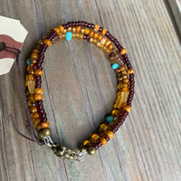 Three strand beaded boho bracelet