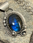 Sterling silver matte pendant with labradorite gemstone