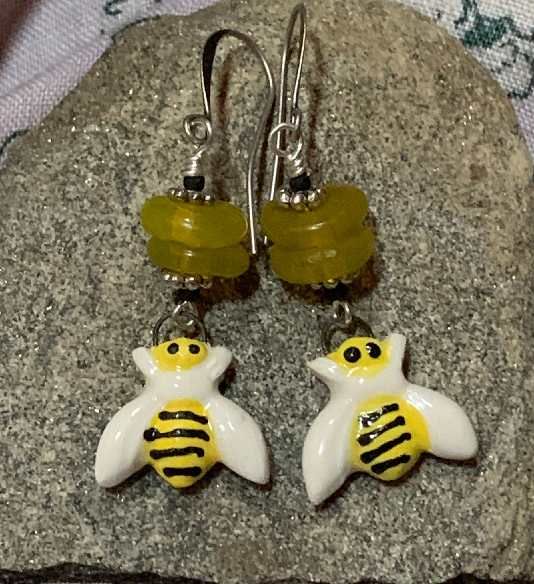 Ceramic bee handmade earrings