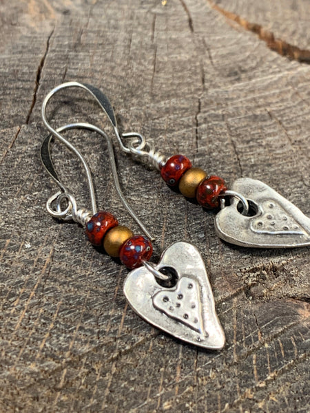 Earrings silver heart with Picasso beads