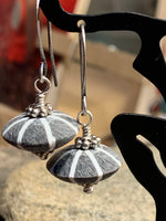 Earrings Buffalo horn bead gray while