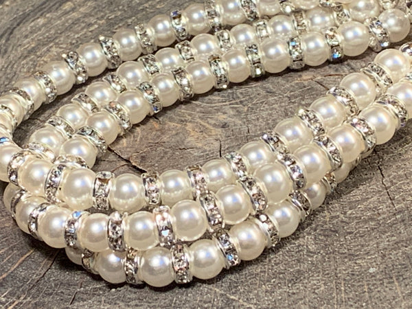 Three strand bracelet white Swarovski pearl with bling and silver plated box clasp
