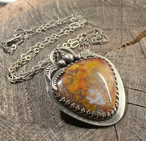 Stoney creek jasper on a oxidized silver pendant