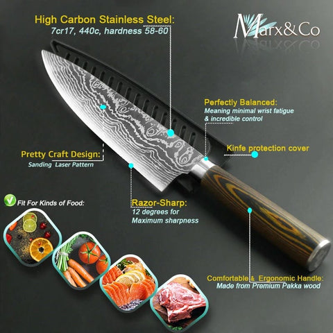 Image of Professional Japanese Kitchen Knife Damascus