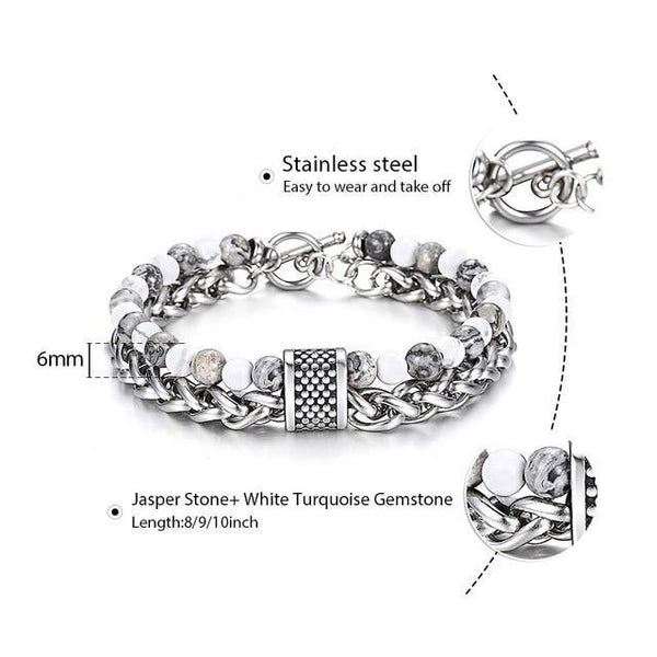 Natural Stone Stainless Steel Bracelet for Men - eDealMentor