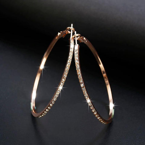 Hoop Earrings With Rhinestone - eDealMentor