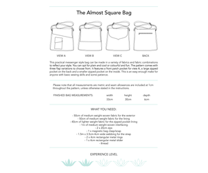 The Almost Square Bag, printed sewing pattern for an adult messenger style bag