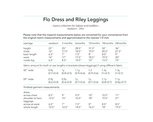 Flo Dress and Riley Leggings, digital sewing pattern for babies and toddlers, 0 - 24 months