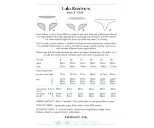 Lulu Knickers, printed sewing pattern for women's underwear, size 8-18UK