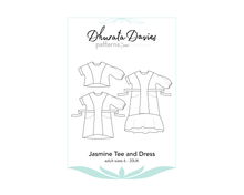 Load image into Gallery viewer, Jasmine Tee and Dress, digital sewing pattern, size 6-20UK, by Dhurata Davies