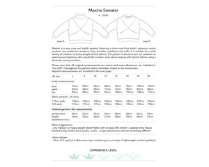 Maxine Sweater, digital sewing pattern, size 6-20UK