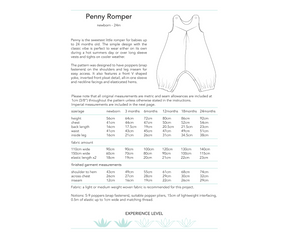 Penny Romper, printed sewing pattern for babies and toddlers, 0-24 months