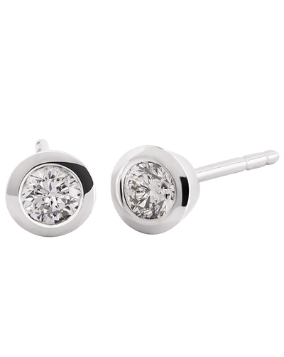 White Gold Rub Over Diamond Stud Earrings