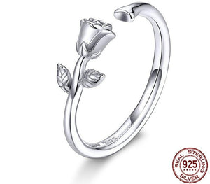 3D Rose Open Adjustable Finger Rings