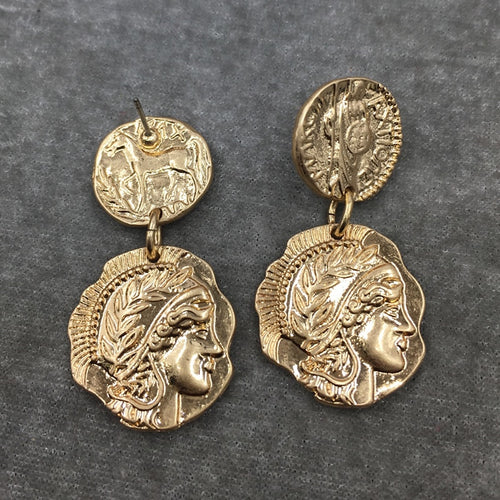Retro Queen Coin Earrings