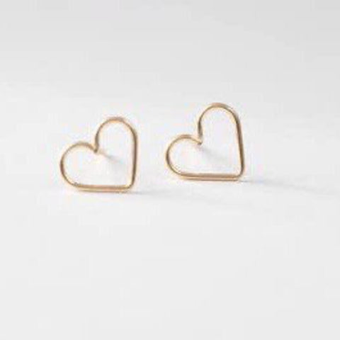 Quad 14K Gold-Filled Open Heart Stud Earrings
