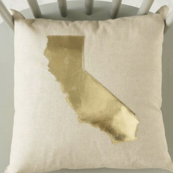 "American Heirloom California Gold Leather 13""x13"" Linen Square Pillow"