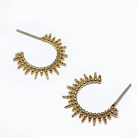 Adorn 512 Gold Plated Sunburst Huggie Hoop Earrings