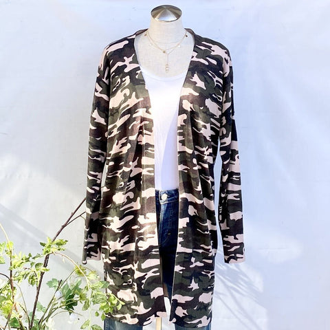 Sanctuary Cotton Blend Camo Open Front Long Cardigan, Size S