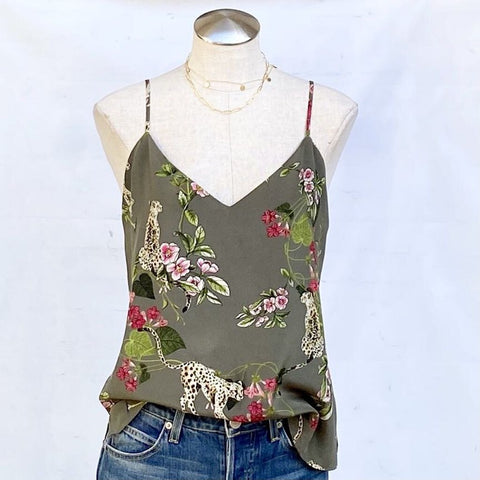 L'Agence Jane Silk Floral & Cheetah V-Neck Cami, Size S