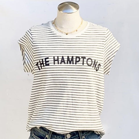 "Joie Cotton ""The Hamptons"" Stripe Cap Sleeve Crew Neck Graphic Tee NWT, Size M"