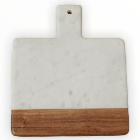 "Be Home Wood & White Marble Square Handled Board, 11"" x 9"""