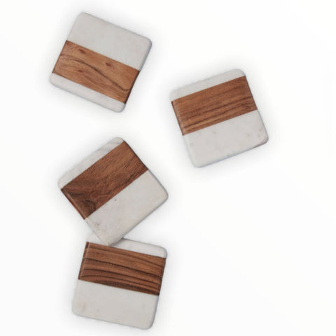 Be Home Wood & White Marble Square Coasters, Set of 4