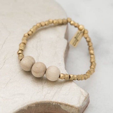STONE+STICK Natural Wood & Small Brass Beads Essentials Stretch Bracelet