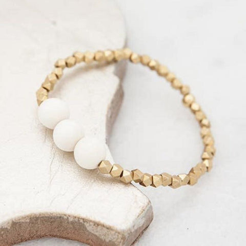 STONE+STICK White Wood & Small Brass Beads Essentials Stretch Bracelet