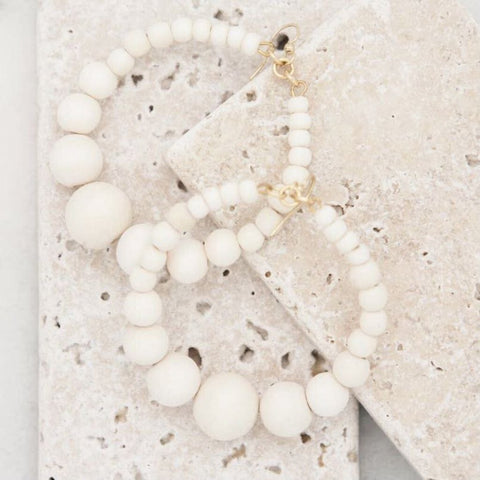 STONE+STICK White Wood Beads Graduated Hoop Earrings