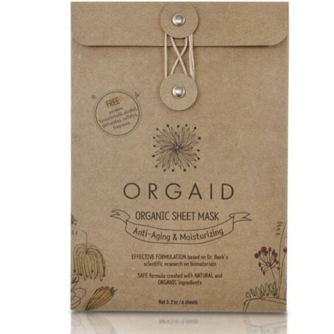 Orgaid Anti-Aging & Moisterizing Organic Facial Sheet Mask Box of 4