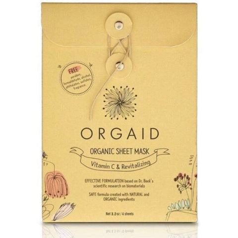 Orgaid Vit-C & Revitalizing Organic Facial Sheet Mask Box of 4