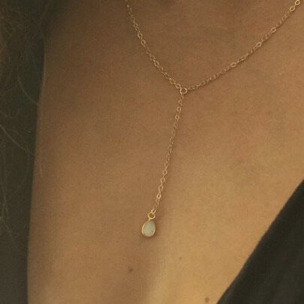 "FMG 15"" 18K Gold-Filled Chain Y White Opal Necklace"
