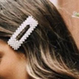 Pearl Rectangular Snap Hair Clip Barrette