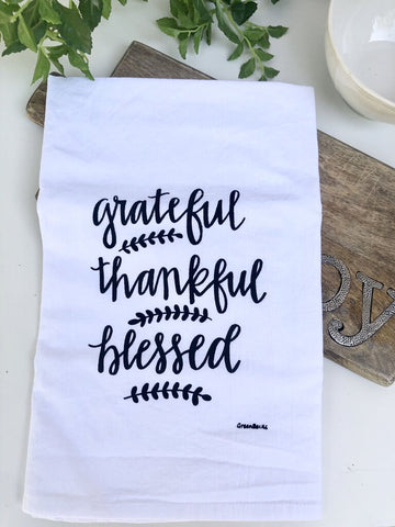 Green Bee Grateful-Thankful-Blessed Tea Towel