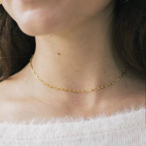 "Go Rings 14K Gold-Filled Cable Chain Choker 15.5"" Necklace"