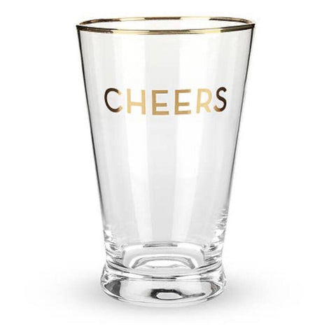 Twine CHEERS Gold Rimmed Cheers Pint Glass Set