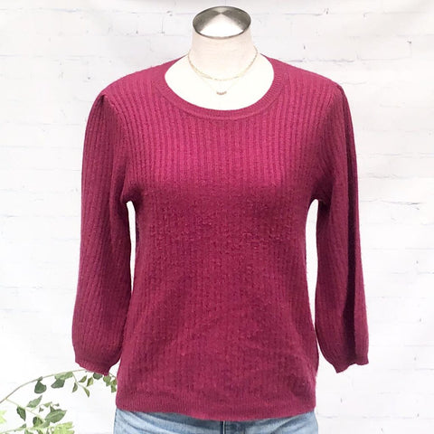 Velvet by G&S Cashmere Rib 34 Sleeve Crew Neck Sweater, Size S