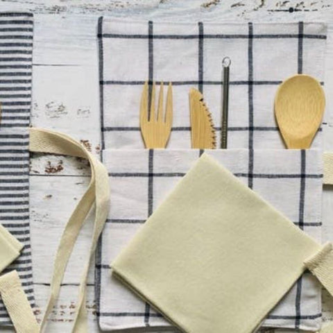 Dot & Army Zero Waste Bamboo Utensils, Straw, & Napkin in Windowpane Sleeve Wrap