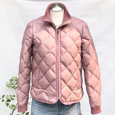 Marine Layer Meredith Diamond Quilted Knit Rib Trim Puffer Jacket, Size S