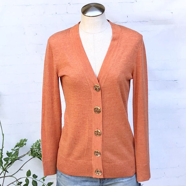 Tory Burch Simone Merino Wool V-Neck Cardigan w/Large Gold Logo Buttons, Size S