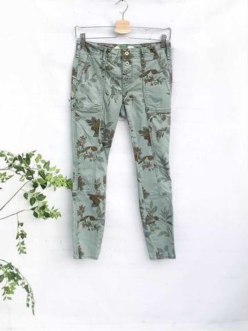 Anthropologie Stretch Cotton Floral Skinny Utility Pants, Size 25P (0P)