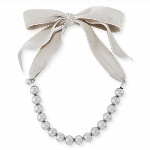 Lulu Frost Gray Velvet Ribbon & Large Silver Pearl Choker Necklace
