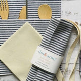 Dot & Army Zero Waste Bamboo Utensils, Straw, & Napkin in Stripe Sleeve Wrap