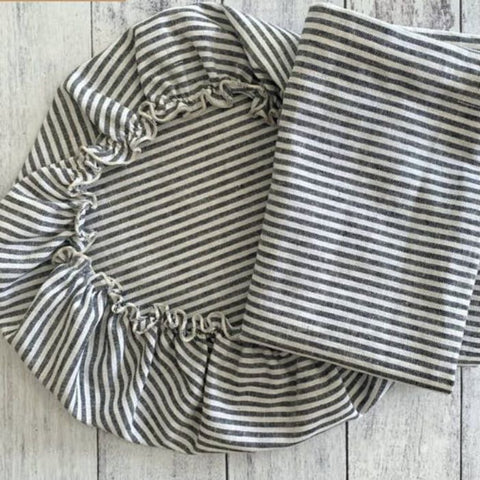 Dot & Army Linen & Cotton Cloth Stripe Bread Bag & Bowl Cover