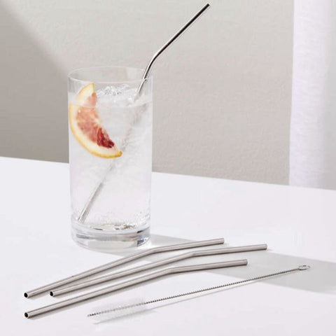 Dot & Army Stainless Steel Straws & Brush in Stripe Sleeve