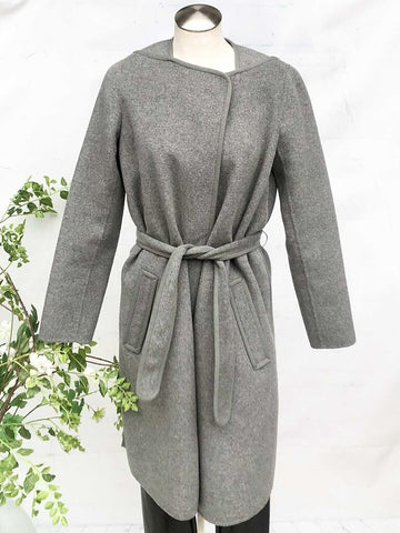 Vince Wool & Nylon Brushed Felt Unlined Collarless Wrap Coat, Size S