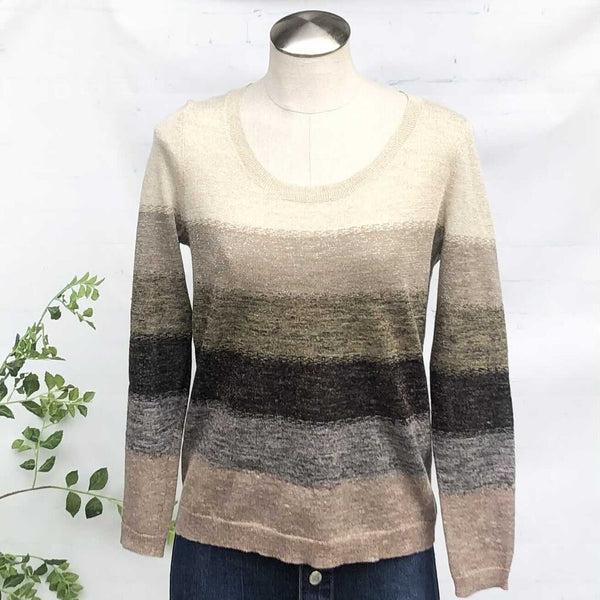 Hoss Intropia Heathered Metallic Stripes Wide Neck Sweater NWT, Size S