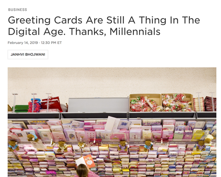 NPR l Greeting Cards Are Still A Thing In The Digital Age. Thanks, Millennials